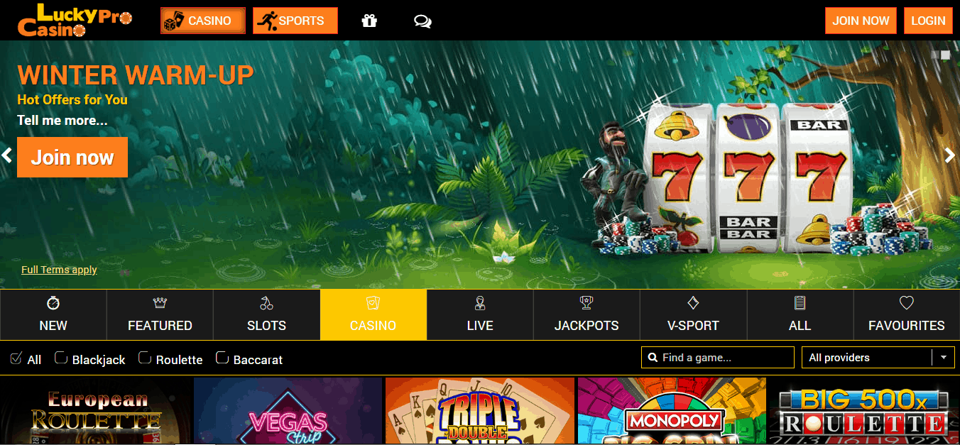 Lucky Pro Casino Game page