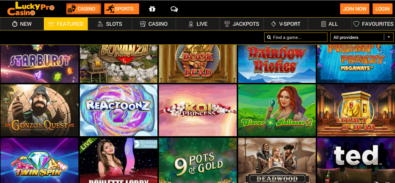 Lucky Pro Casino Promotion page