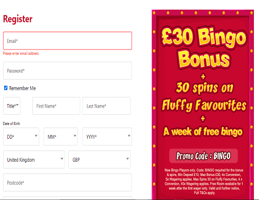 Cheeky Bingo sign up page