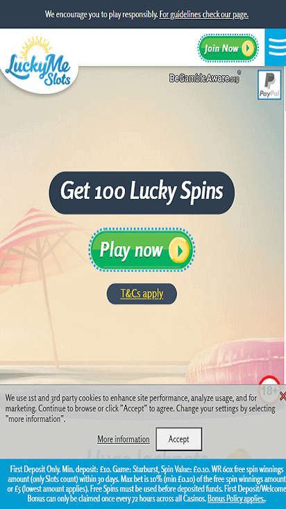 LuckyMeSlots home mobile