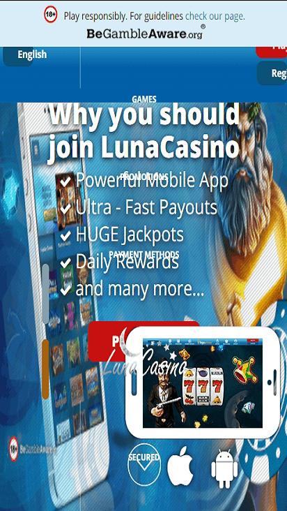 LunaCasino home mobile