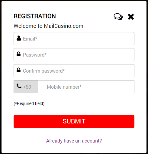 Mail Casino SignUp