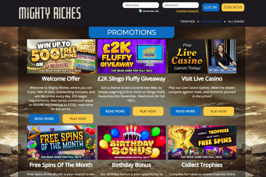 Mighty Riches promotions