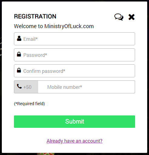 Ministry of Luck SignUp
