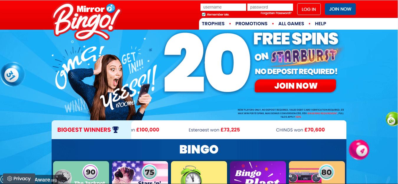 Mirror Bingo Homepage