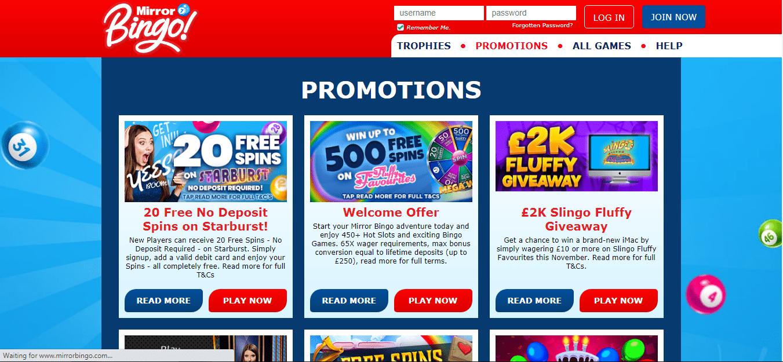 Mirror Bingo Promotionpage