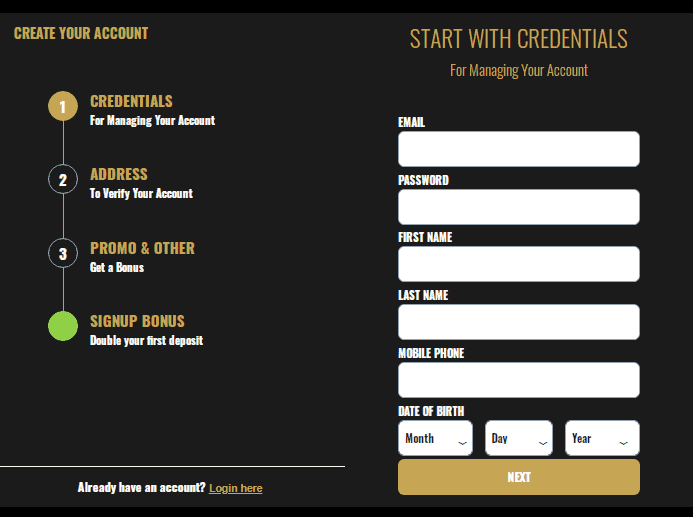 Myb Casino Signup page