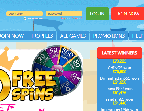 Palace Bingo login