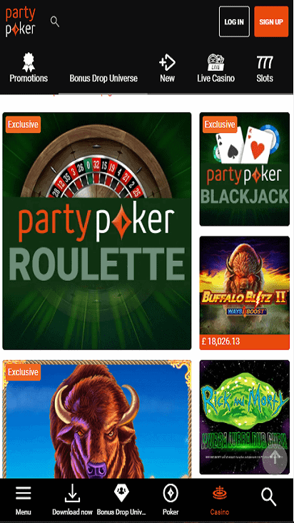 PartyPoker game moible