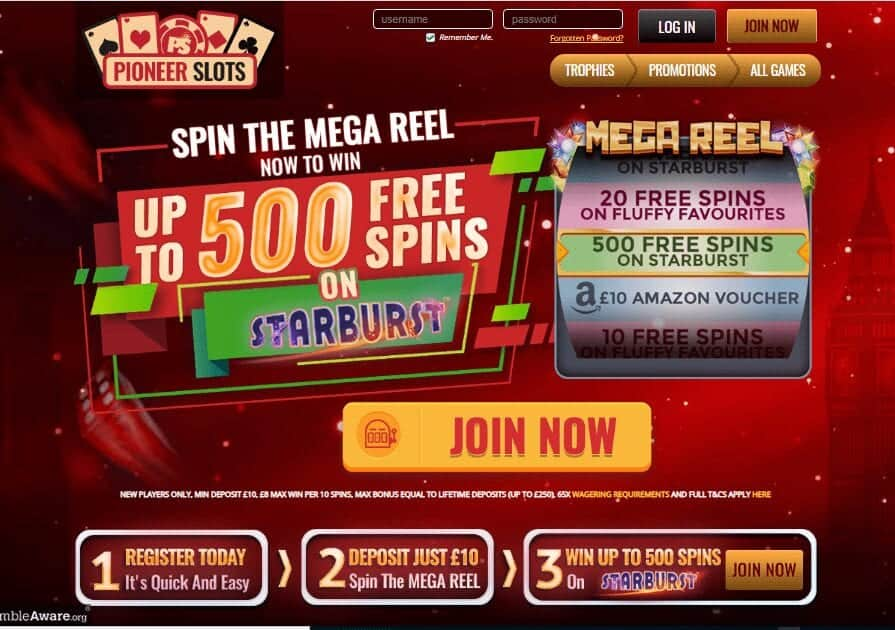 Pioneer Slots home page