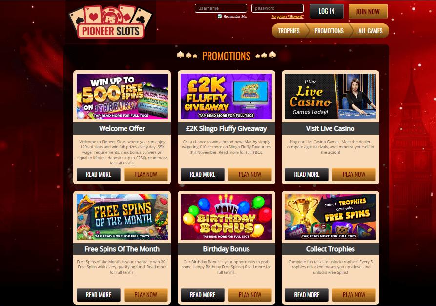 Pioneer Slots promotions