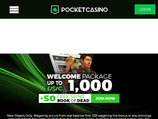 Pocket casino front page