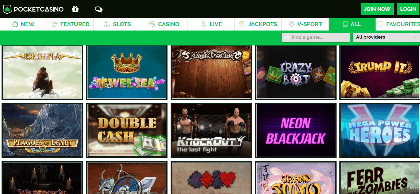 Pocket casino gamepage