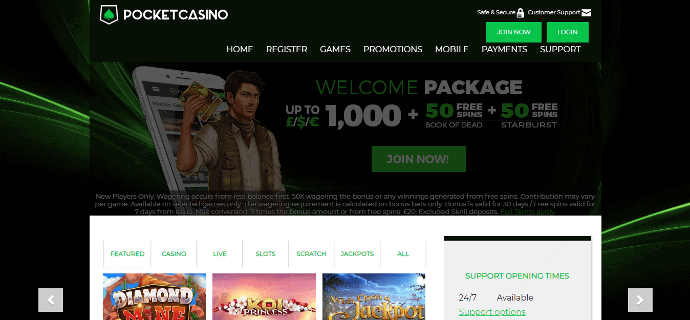 Pocket casino homepage