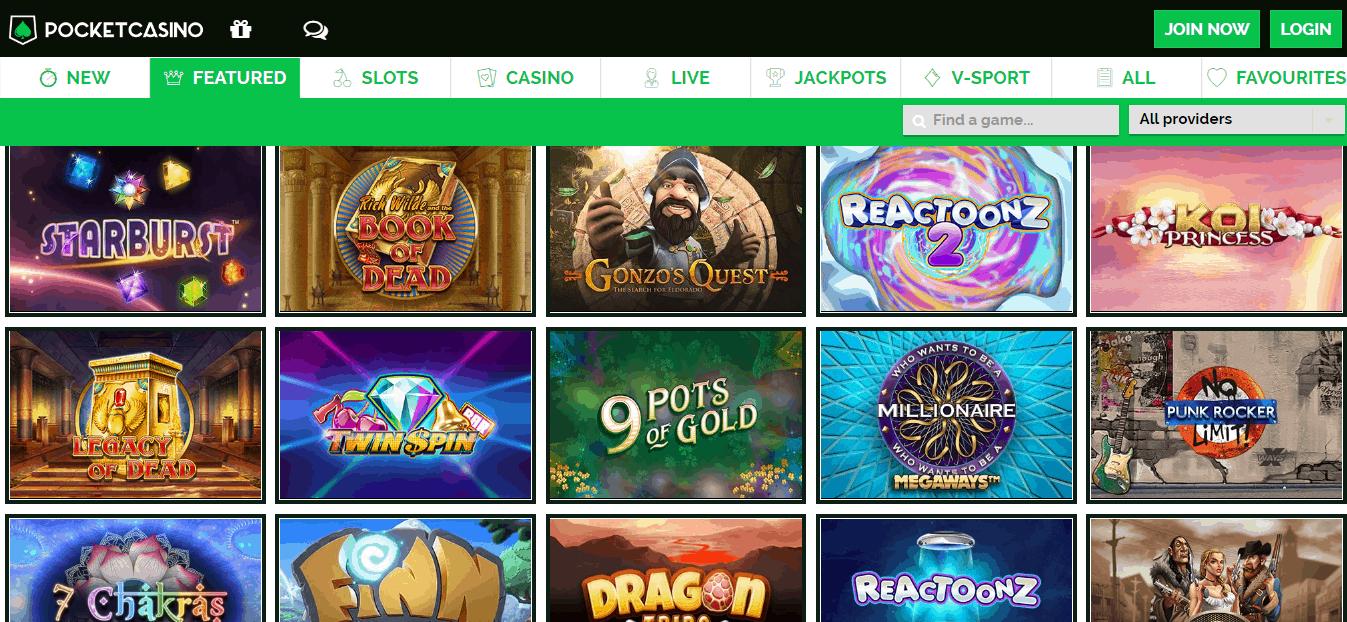 Pocket casino promotion page
