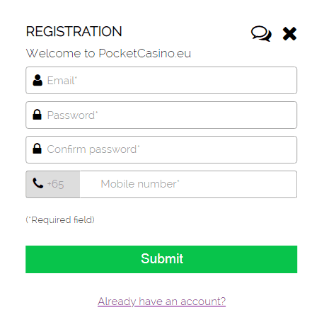 Pocket casino signup page