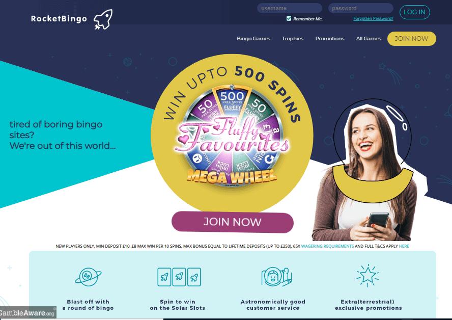 Rocket Bingo home page