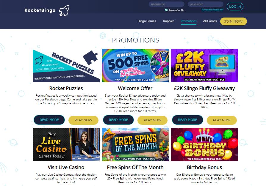 Rocket Bingo promotions