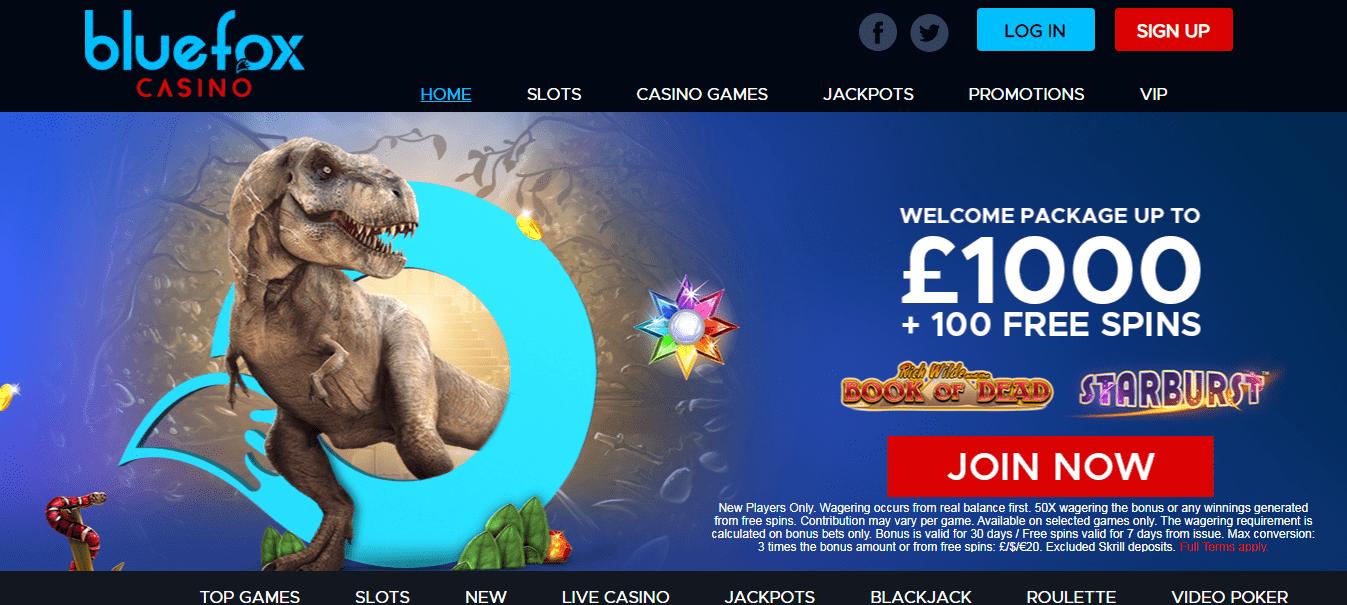 Blue Fox Casino Homepage