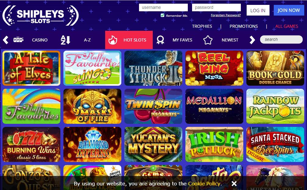 Shipleys Slots game page