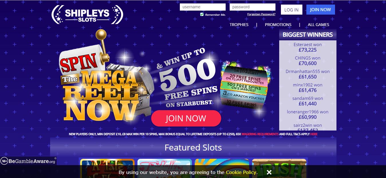 Shipleys Slots homepage
