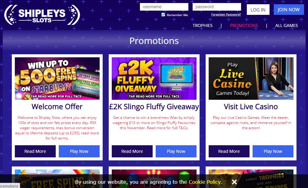 Shipleys Slots promotion page