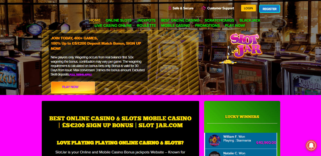 Slot Jar home page