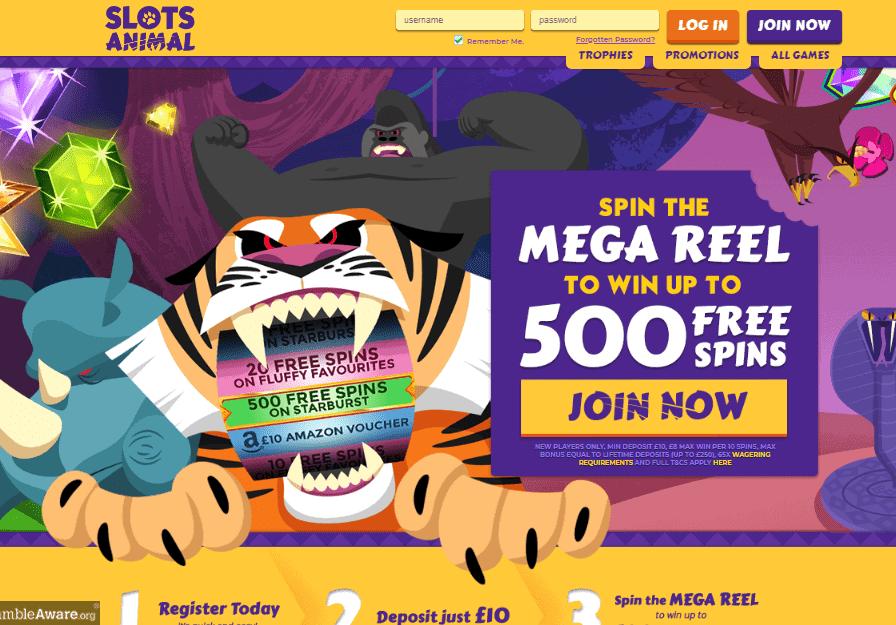 Slots Animal home page