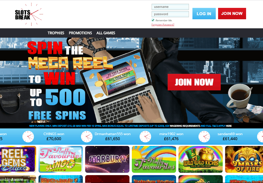 Slots Break home page
