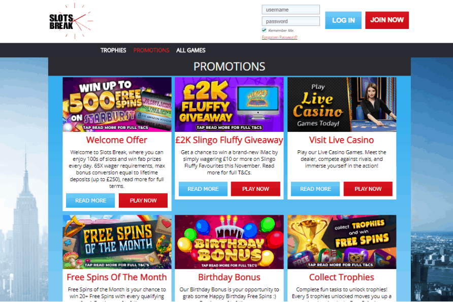 Slots Break promotions
