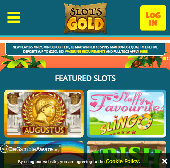 Slots Gold Front Page