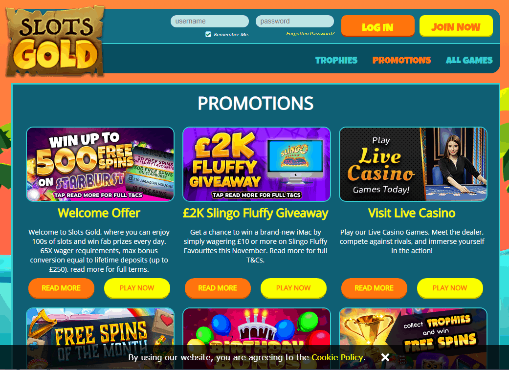 Slots Gold Promotions