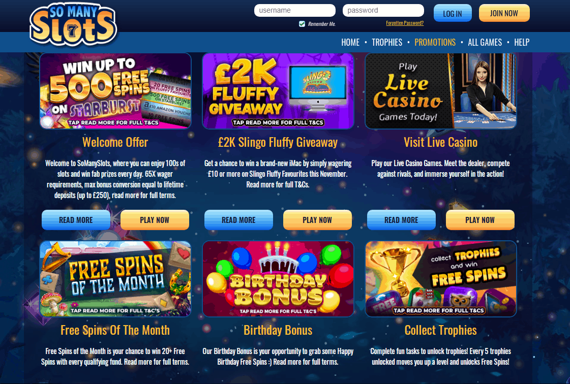 So Many Slots Promotions