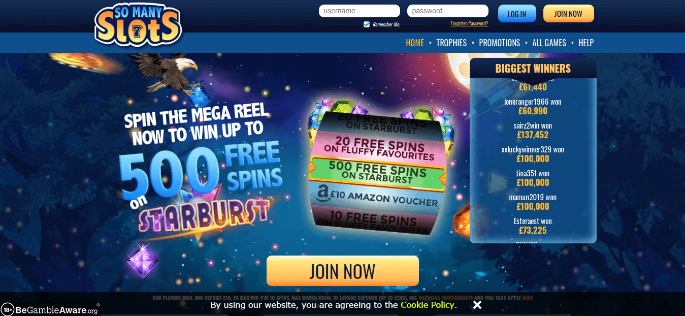 So Many Slots home page