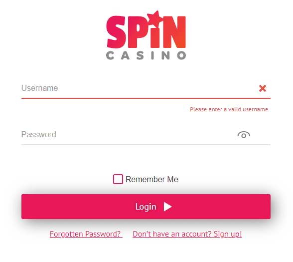 Spin Casino log in