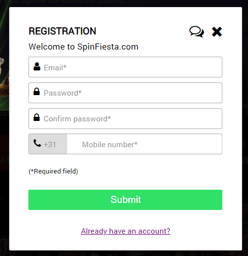 Spin Fiesta sign up page