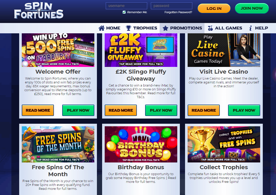 Spin Fortunes Promotions