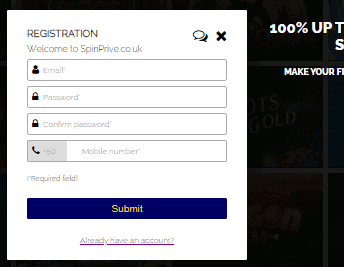 Spin Prive SignUp