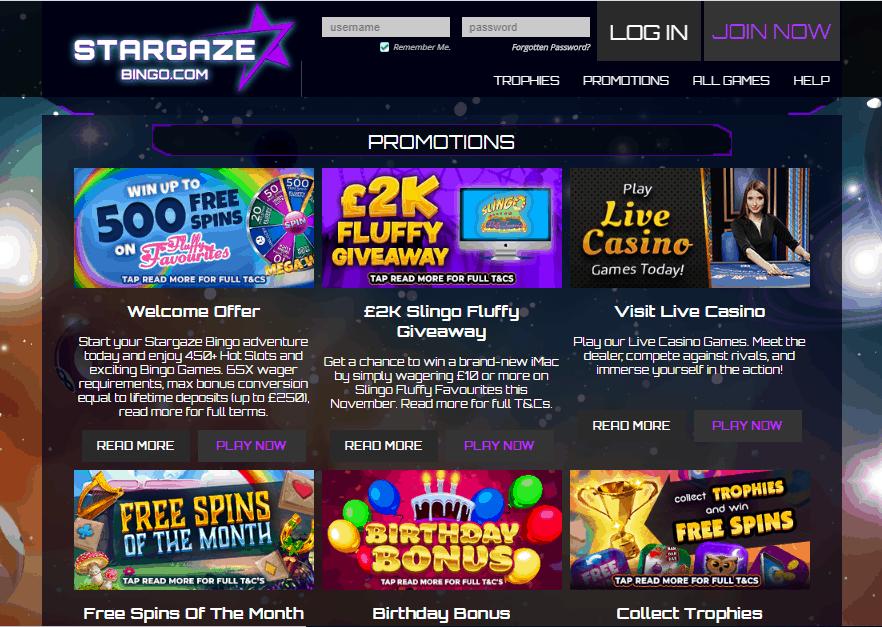 Stargaze Bingo promotions