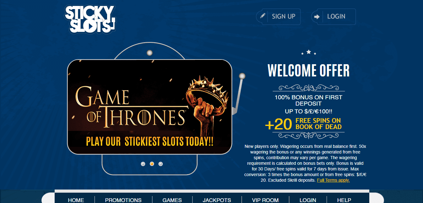 Sticky Slots home page