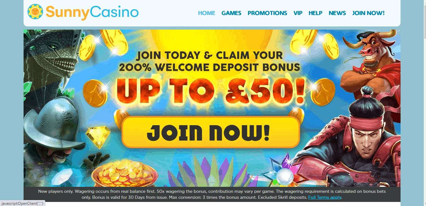 Sunny Casino home page