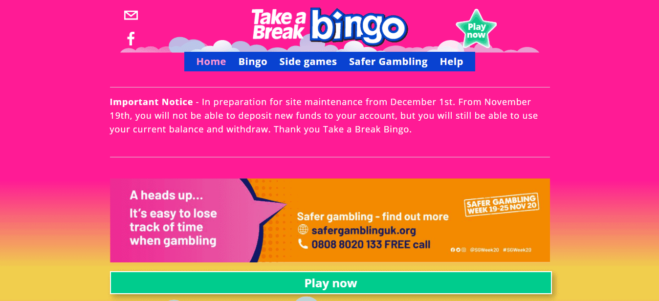 Take a Break Bingo homepage