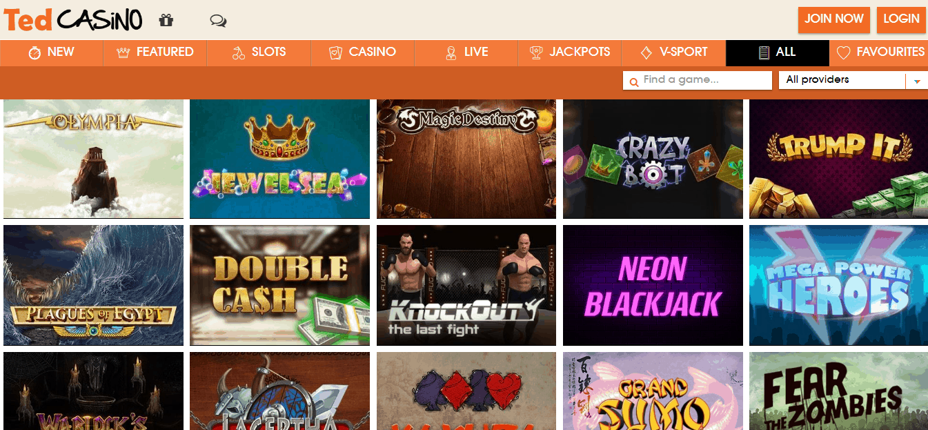 Ted Casino Game Page