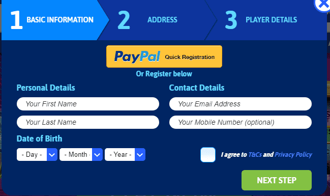 UK Slots signup