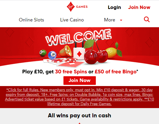 Virgin Games front page
