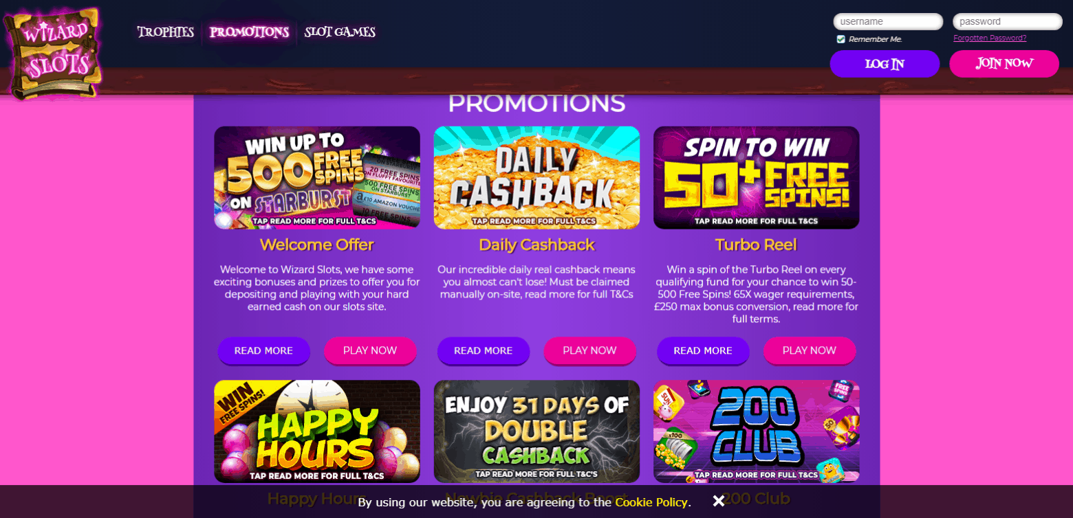 Wizard Slots Promotions