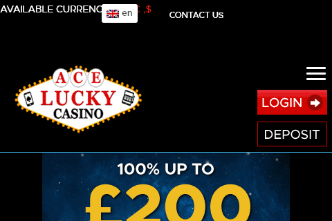 Ace Lucky Casino Front Page