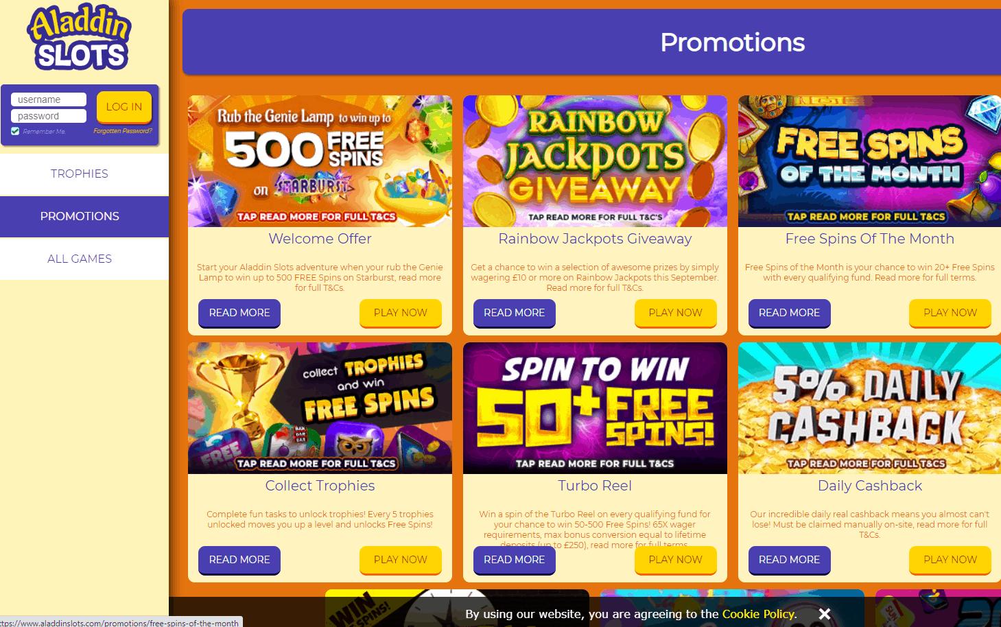 aladdin slots promotions
