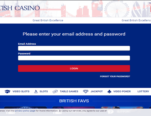 All British Casino login page