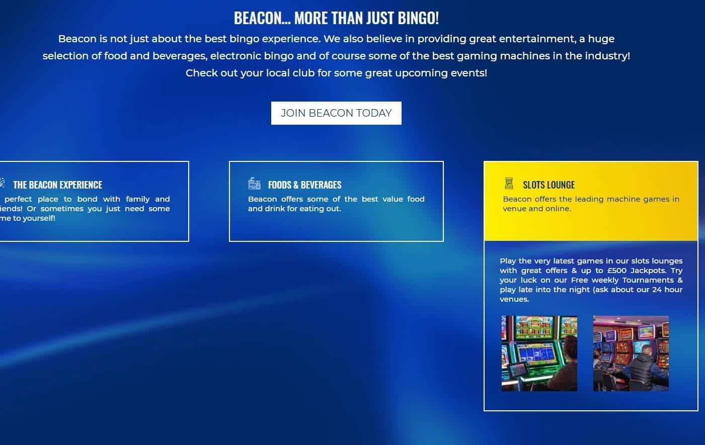 Beacon Bingo Sing up page
